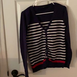 Forever 21 blue, white, and red striped cardigan M